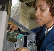 Female computer tech